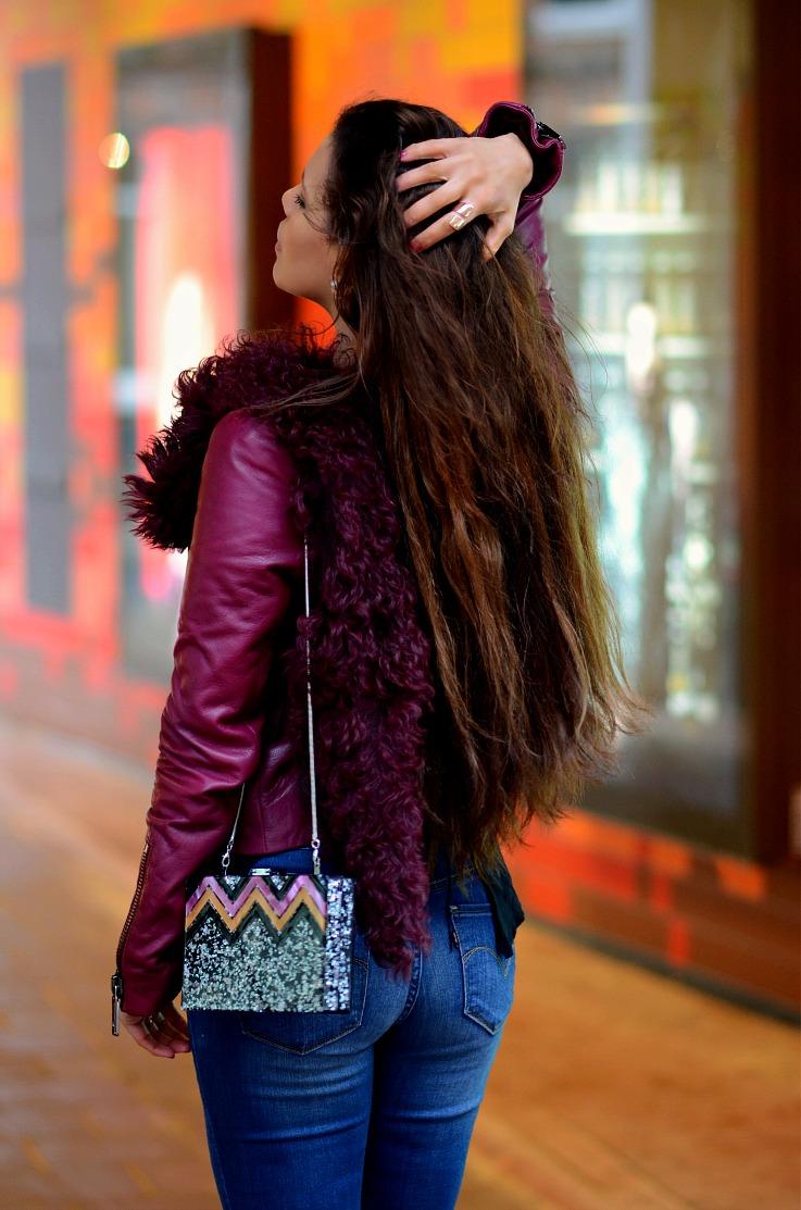 DSC_9354 Tony Cohen jacket, Zara Glitter Bag, Tamara Chloé, Burgundy Leather Jacket
