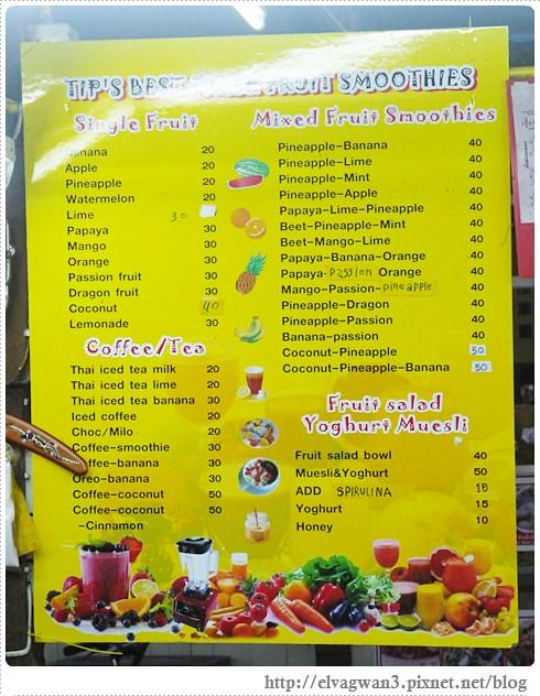 泰國-泰北-清邁-Somphet Market-Tip's Best Fresh Fruit Smoothie-市場-果汁攤-酸奶水果沙拉-燕麥水果優格沙拉-香蕉Ore0-泰式奶茶-早餐-21-605-1