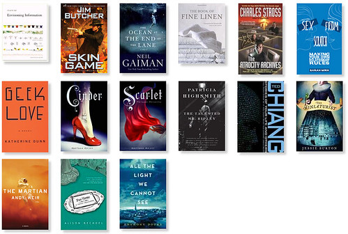 Screenshot of the last 14 books I read in 2014.  See domesticat.net/2014/12/year-books-came-back-me for more explanation.