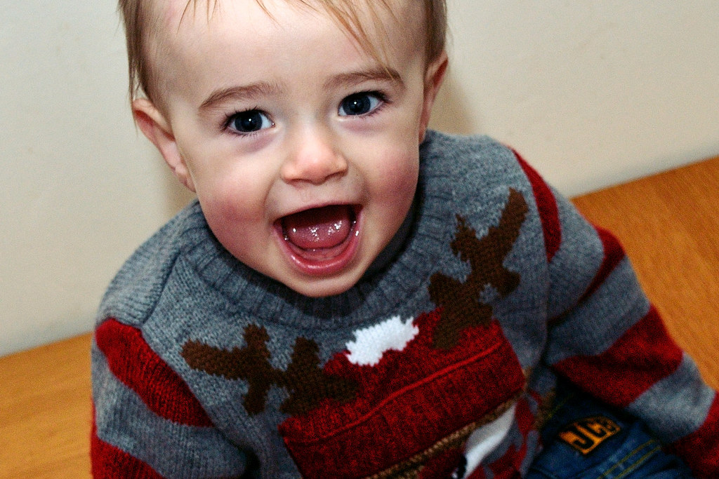 Baby David in his reindeer jumper for Christmas Jumper Day 2014.