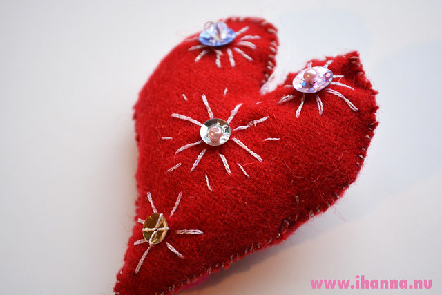 Wool Heart with glittery embroidery