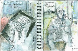 Dibujando rápidamente en tránsito.  Hay que leerlo para comprenderlo.  7 de enero, 2015.  (Quick drawing in transit.  You have to read it to unserstand it.)