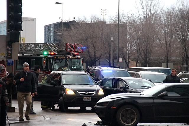 Aftermath of Car Crash on Randolph at Michigan Avenue
