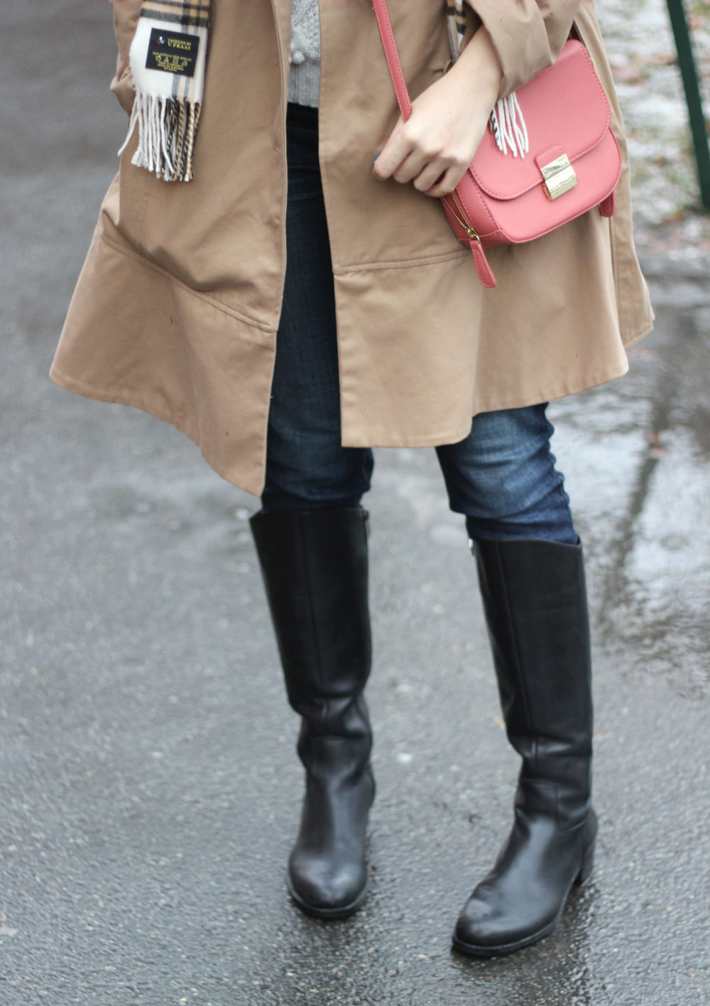 Salmon pink crossbody and trench coat