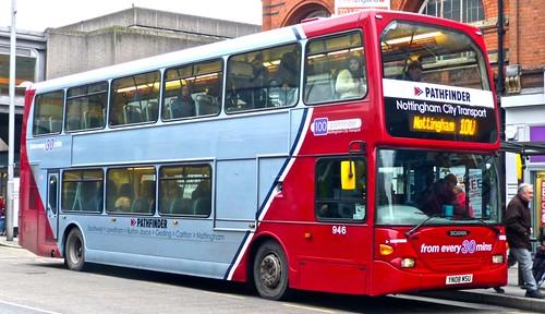 YN08 MSU 'Nottingham City Transport' 946 Scania N270UD / Darwen. Dennis Basford's railsroadsrunways.blogspot.co.uk