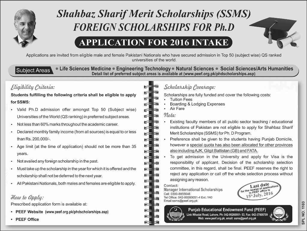 Shahbaz Sharif Merit Scholarships for Doctrate Foreign PEEF