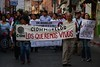 Marcha de sindicatos para exigir justicia por normalistas desaparecidos