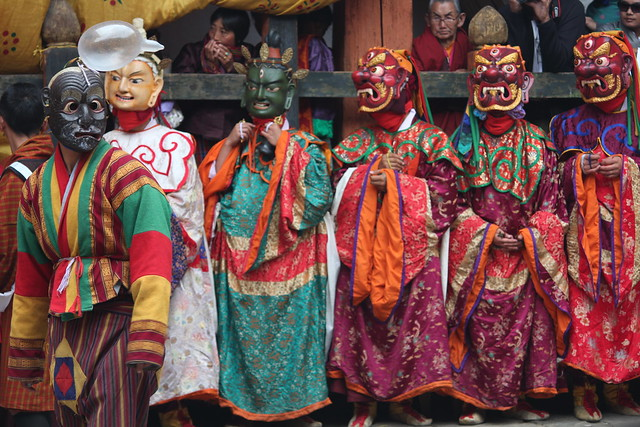 Jakar tshechu, Guru Tshengye, atsara, Loden Chogse manifestation, Tshokye Dorje manifestation, and three deities belonging to the entourage of the Guru Dorje Drolo manifestation
