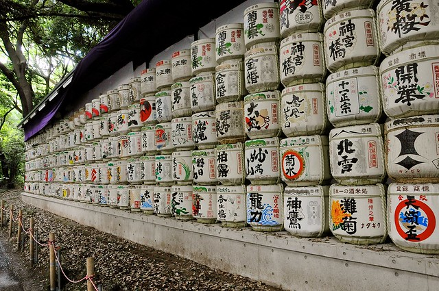 Sake barrels at Meiji Jingu