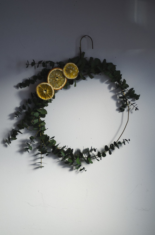 Eucalyptus and Dried Orange Wreath DIY on juliettelaura.blogspot.com