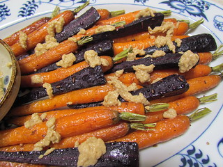Roasted Rainbow Carrots with Cumin-Coriander Tahini Sauce