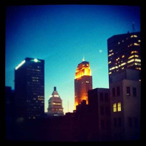 Dusk in downtown Cincinnati as seen from my office window @Deskey...