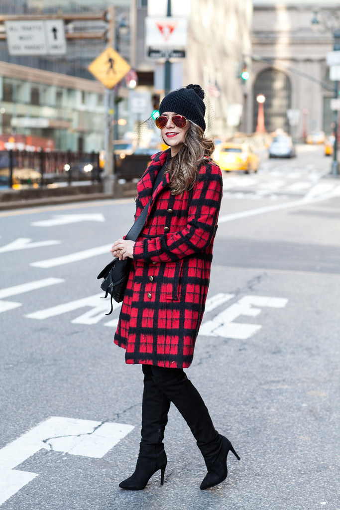 Shirt: Old Navy Turtle Neck Pants: AG Adriano Goldschmied Super Skinny Velvet Leggings Boots: Joie Olivia Boots Coat: Walter Baker Plaid Coat (similar save & splurge) Hat: Choices Black Beanie with Mesh Bag: Sunglasses: Ray Ban Orange Aviator