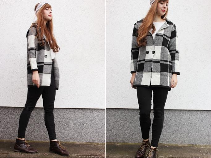 tartan coat outfit blogger - tartan blogger look - vintage tassel boots-tile