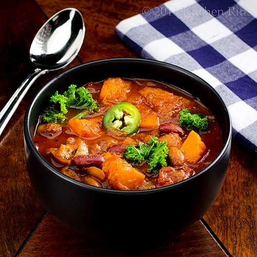 Roast Squash & Sweet Potato Chili with Kale in bowl