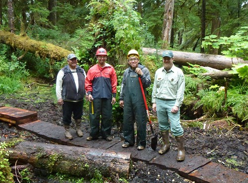 A new foot bridge near the tribal village of Angoon on Admiralty Island National Monument is part of a Tongass National Forest and Youth Conservation Corps partnership. From left, Tribal Liaison Donald Frank, Angoon Trail Crew Leader Aaron McCluskey, Youth Conservation Corps member Roger Williams, also an Angoon tribal member, and Admiralty Island National Monument Ranger Chad VanOrmer pause work to celebrate the bridge's construction and the agency's successful Corps partnership with the Angoon Tribe. (U.S. Forest Service/Jeff Miller)