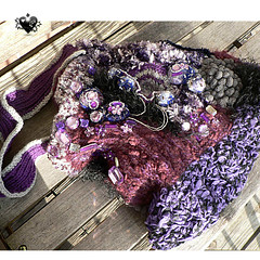 Purple Sparkles freeform knitted bag