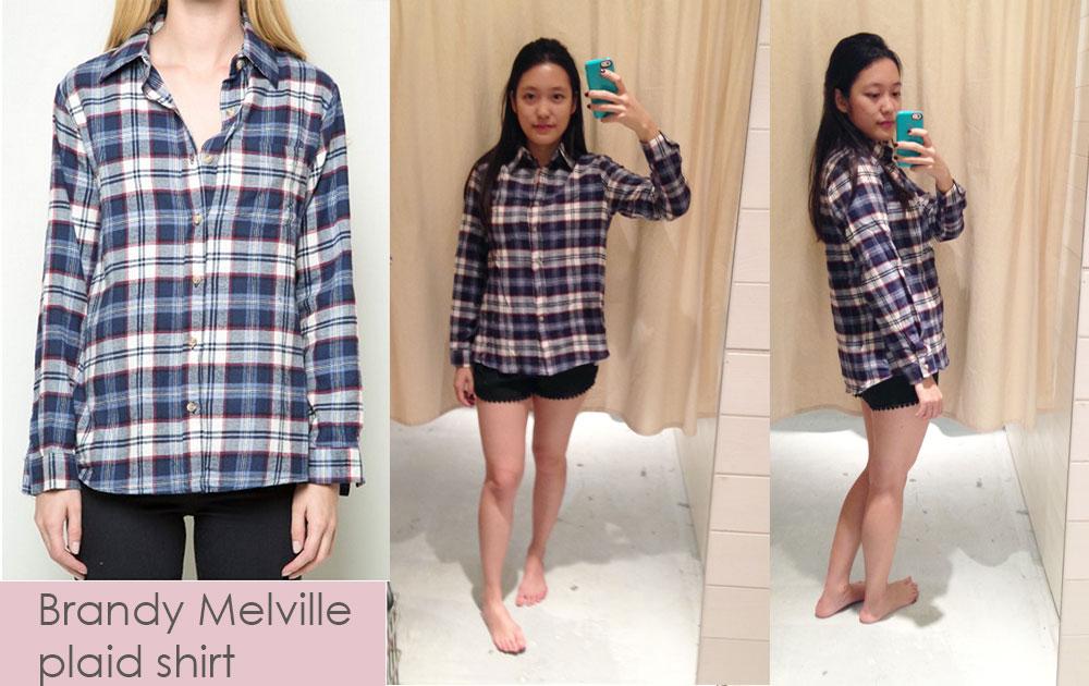 Brandy Melville plaid shirt runs large