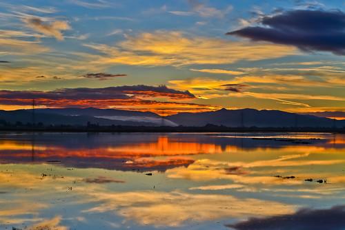 california morning sky orange color reflection nature northerncalifornia fog sunrise bay nikon december earth shoreline depthoffield powerlines bayarea eastbay hayward alamedacounty d800 2014