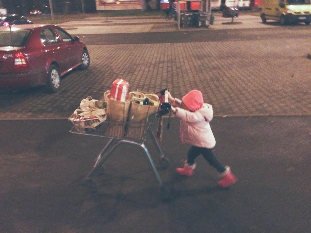 Avery Pushing the Cart (12/9/14)