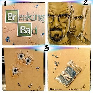 Trampo finalizado!!! Caixa em #mdf com tema #breakingbad feito com #lapisdecor #fabercastell legenda: (1) - tampa, (2)-frente, (3)-laterais.  #Desenho #denisbabu #heisenberg #drawing #fanart #colorpencil