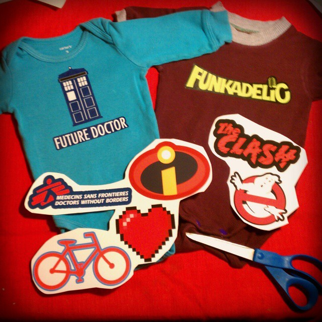 Fun w/ iron-on transfers: #doctorwho #TARDIS and Funkadelic onesies for baby. And more plans to liven up some plain second-hand baby clothes...