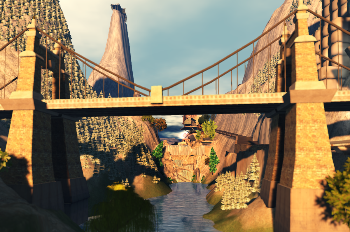 Waterfall and bridge at Snowlands' edge