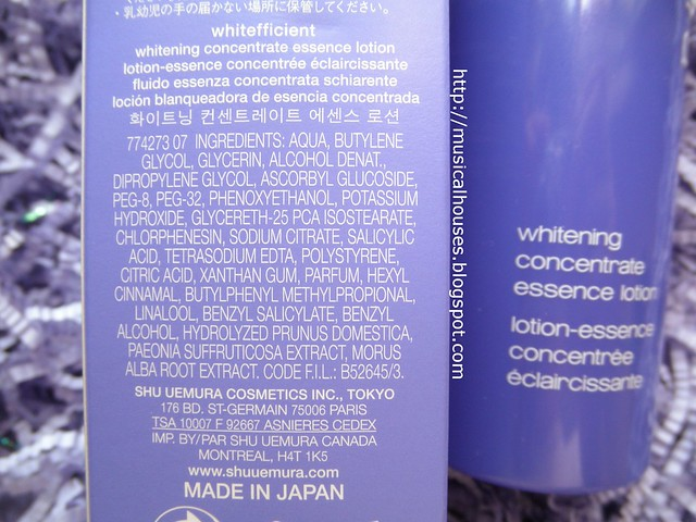 Shu Uemura Whitefficient Whitening Concentrate Essence Lotion Ingredients
