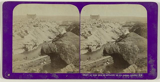 Vista desde la Piedra del rey Moro. Fotografía estereoscópica de Jean Andrieu en 1868 con número de serie 2647