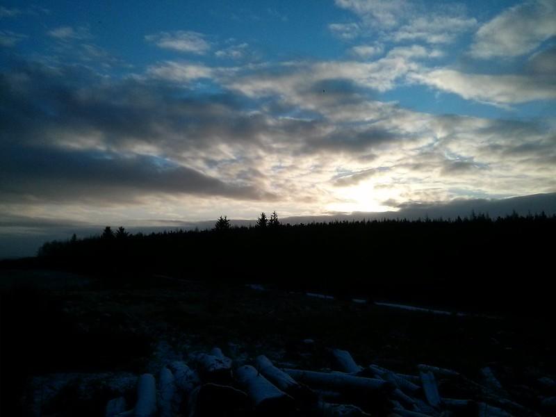 Rising sun above Tillyfourie Hill