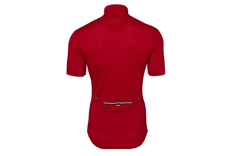 mens short sleeve merino alpine jersey claret back