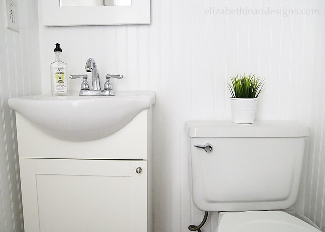 White Gray Bathroom Beadboard