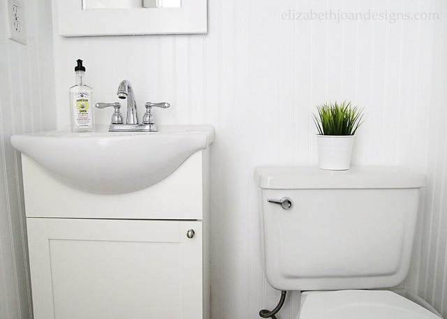 White Gray Bathroom Beadboard