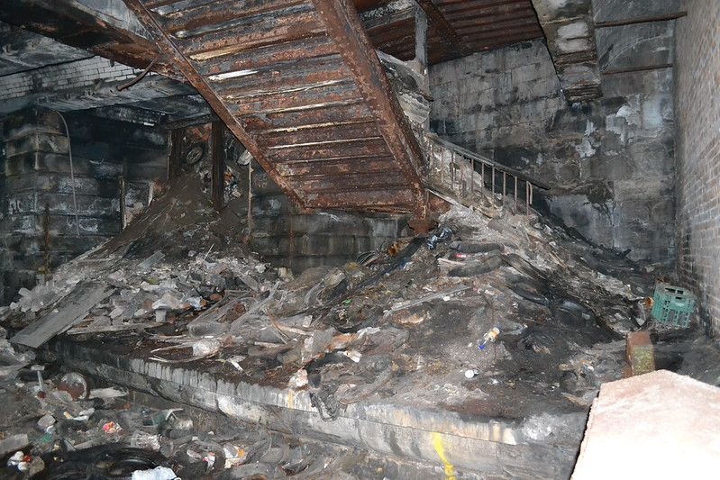 Rubbish piled up at Kelvinbridge Station