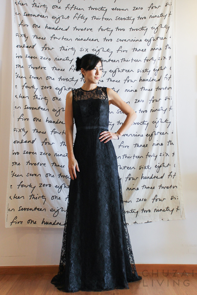 Black lace gown with string back-4