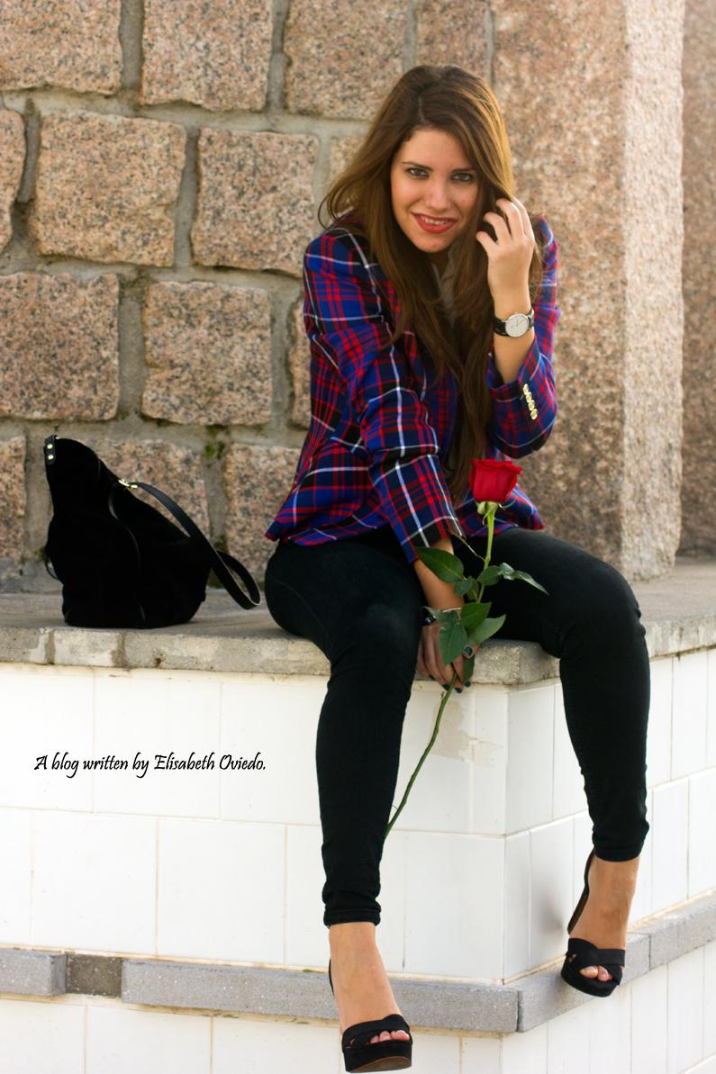 chaqueta anne klein estilo tartán cuadros azules y rojos - HEELSANDROSES(16)