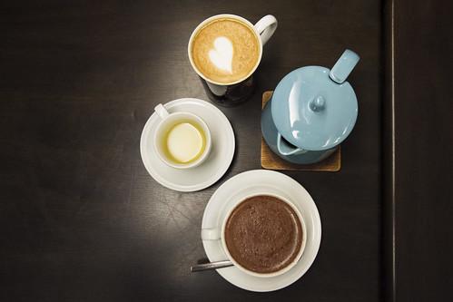 Latte, tea, hot chocolate = a happy family