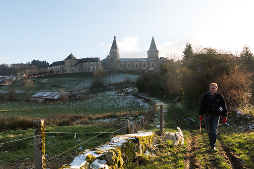 Walking the dog near B?©n?©vent L'Abbaye