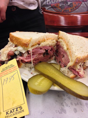 A $20 sandwich, so much pastrami. Katz Deli, New York