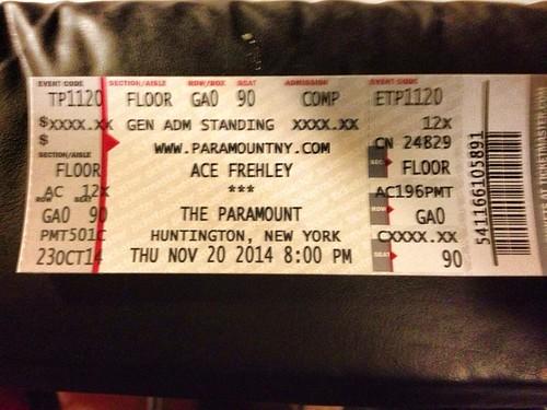 11/20/14 Ace Frehley @ The Paramount, Huntington, LI, NY (Ticket)