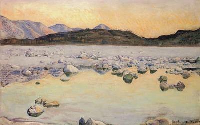 フェルナンド・ホドラー《日没のマッジア川とモンテ・ヴェリタ》