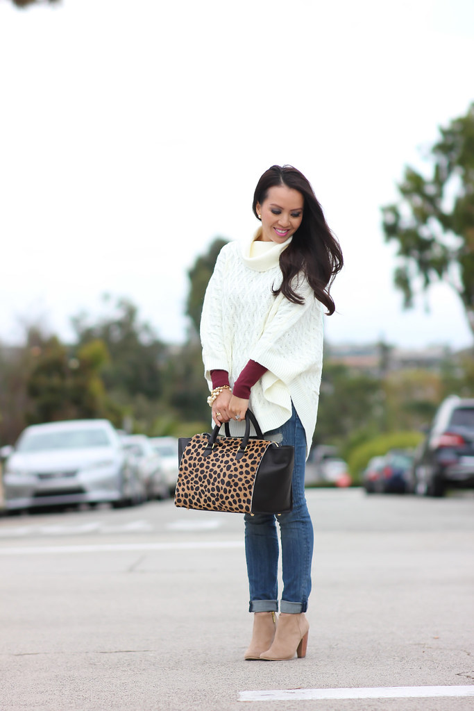 Forever 21 Cable Knit Poncho and Clare V Sandrine Satchel-3