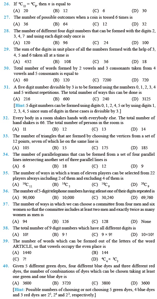 Class 11 Important Questions For Maths Permutations And
