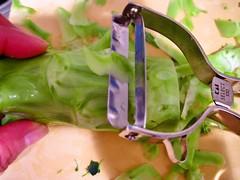 茎は表面の硬いところを厚めに切り落とします