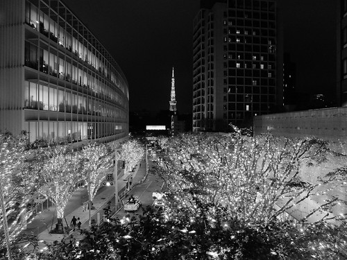 FUJIFILM X30 night scene illumination SNOW&BLUE Film Simulation Monochrome