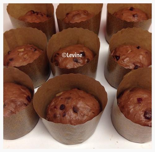 Chocoladebroodjes met noten, cranberries en sultana's