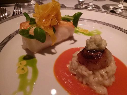 Chilean Sea Bass Saffron Poached Fennel, Creamy Cipollini Risotto, Roasted Heirloom Beurre Blanc