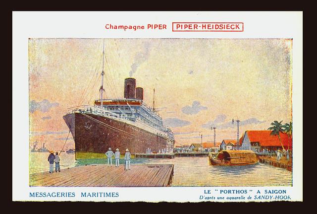 PORTHOS IN SAIGON HARBOUR, MESSAGERIES MARITIMES SHIP LINE, ca 1902