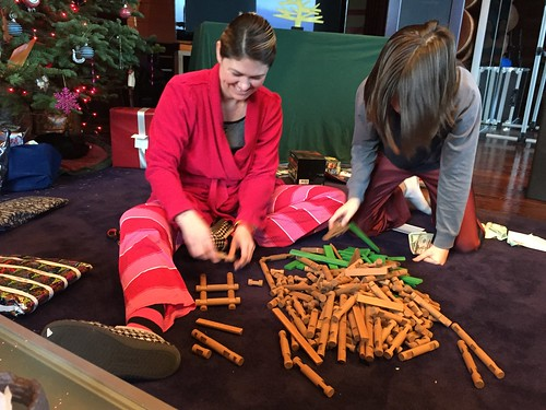 Rachel and Nick with xmas Lincoln Logs