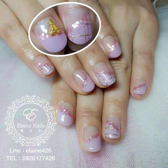 1031227粉紫變化法式璀燦亮片格紋